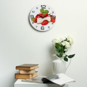"""Часы настенные, серия: Кухня, """"Торт с клубникой"""", 24  см, микс 3571412"""