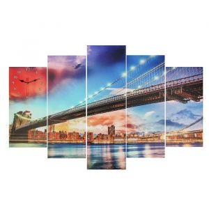 """Часы настенные, серия: Город, модульные """"Светящийся мост"""", 80х140  см, микс 2045101"""