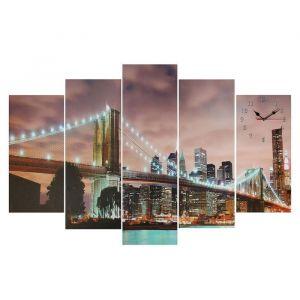 """Часы настенные, серия: Город, модульные """"Светящийся мост"""", 80х140  см, микс 2045102"""