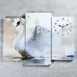 """Часы настенные, серия: Животный мир, модульные """"Белый лебедь на пруду"""", 60х80 см, микс 2045055"""