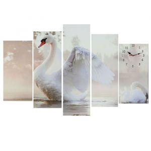 Часы настенные модульные «Белый лебедь», 80 ? 140 см