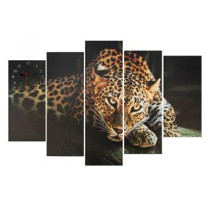 Часы настенные модульные «Леопард», 80 ? 140 см
