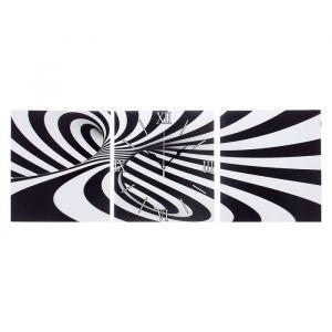 """Часы настенные, серия: Интерьер, модульные """"Черно-белая абстракция"""", 35х110  см, микс 2045002"""