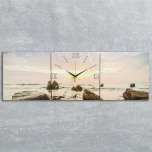 """Часы настенные, серия: Море, модульные """"Закат на море"""", 35х110  см, микс 2045020"""