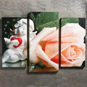 Часы настенные модульные «Ангел и роза», 60 ? 80 см