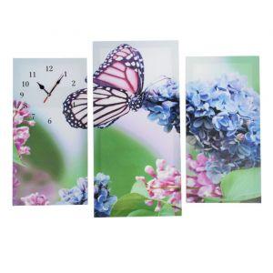 Часы настенные модульные «Бабочка на цветках», 60 ? 80 см