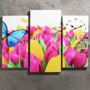 Часы настенные модульные «Бабочки и тюльпаны», 60 ? 80 см