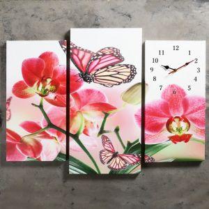 Часы настенные модульные «Бабочки на цветах», 60 ? 80 см