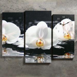 Часы настенные модульные «Белые орхидеи на камнях», 60 ? 80 см