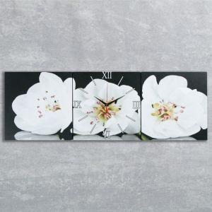 Часы настенные модульные «Белые орхидеи», 35 ?110 см
