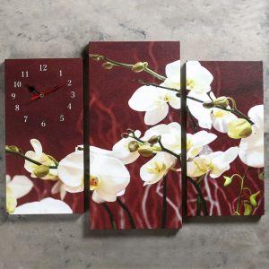 Часы настенные модульные «Белые орхидеи», 60 ? 80 см
