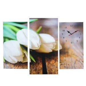 Часы настенные модульные «Белые тюльпаны», 60 ? 80 см