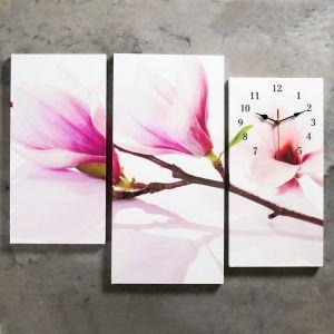 Часы настенные модульные «Веточка с фиолетовыми цветами», 60 ? 80 см