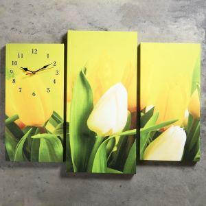 Часы настенные модульные «Жёлтые тюльпаны», 60 ? 80 см