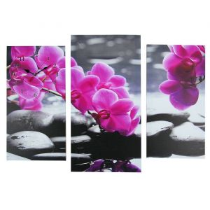 Часы настенные модульные «Орхидеи над камнями», 60 ? 80 см