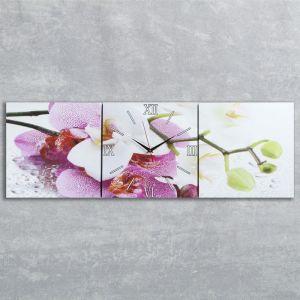 """Часы настенные, серия: Цветы, модульные """"Орхидеи"""", 35х110  см, микс 2044998"""