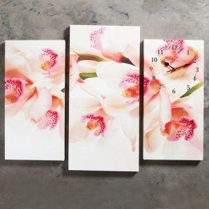 """Часы настенные, серия: Цветы, модульные """"Орхидеи"""", 60х80см 2045077"""
