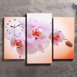 Часы настенные модульные «Розовая орхидея», 60 ? 80 см