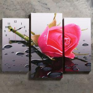 Часы настенные модульные «Розовая роза», 60 ? 80 см