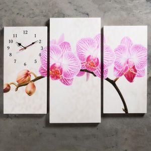 """Часы настенные, серия: Цветы, модульные """"Розовые цветки орхидеи"""", 60х80 см, микс 2045062"""