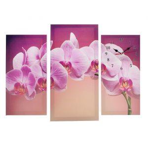 Часы настенные модульные «Сиреневые орхидеи», 60 ? 80 см