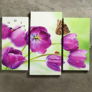 Часы настенные модульные «Бабочка на сиреневых цветах», 60 ? 80 см
