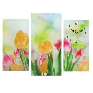 Часы настенные модульные «Тюльпаны», 60 ? 80 см