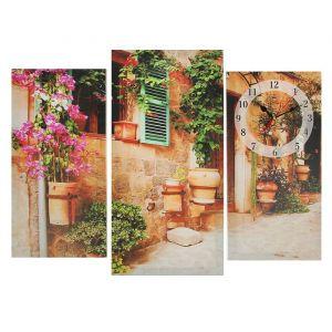 Часы настенные модульные «Украшенный цветами дом», 60 ? 80 см