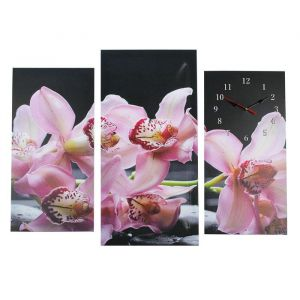 Часы настенные модульные «Сиреневые цветки на ветке», 60 ? 80 см