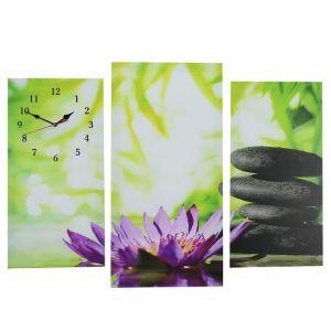 Часы настенные модульные «Цветок и камни», 60 ? 80 см
