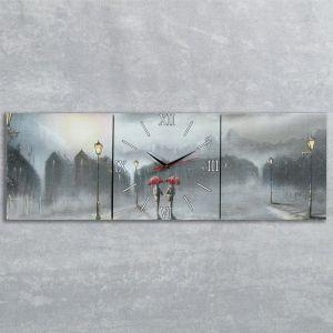"""Часы-картина настенные, серия: Люди, """"Двое под дождем"""", 35х105  см, микс 1741368"""