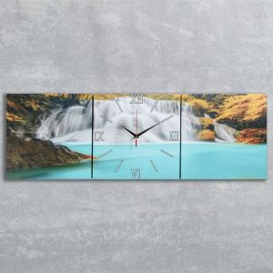 Часы-картина настенные прямоугольные «Лесной водопад», 35 ? 105 см