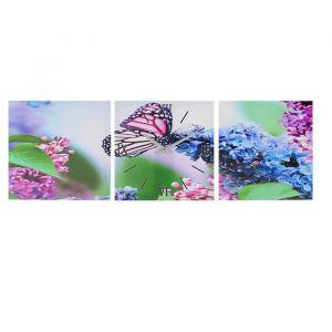 """Часы-картина настенные, серия: Цветы, """"Бабочка на ветке сирени"""", 35х105  см, микс 1741274"""