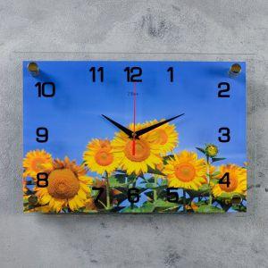"""Часы настенные прямоугольные """"Подсолнухи"""", 25х35 см микс 1409256"""