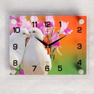 """Часы настенные, серия: Животный мир, """"Белые голуби"""", 20х26 см 2267872"""