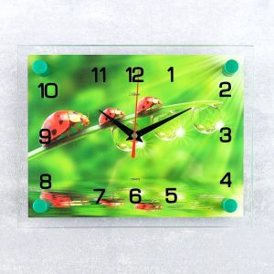 """Часы настенные, серия: Животный мир, """"Божьи коровки"""", 20х26  см, микс 1061696"""