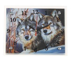 """Часы настенные, серия: Животный мир, """"Два волка"""", 20х25  см, микс 1639446"""