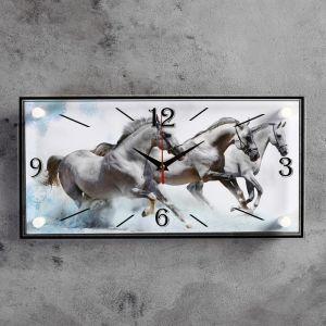 """Часы настенные, серия: Животный мир, """"Кони"""", 19х39 см 2643193"""