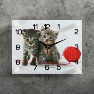 """Часы настенные, серия: Животный мир, """"Котята с клубком"""", 20х26  см, микс 2267877"""