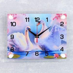 """Часы настенные, серия: Животный мир, """"Пара лебедей"""", 20х26 см микс 2267874"""