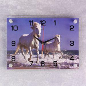 """Часы настенные, серия: Животный мир, """"Пара лошадей на берегу"""", 25х35  см, микс 1169005"""