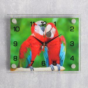 """Часы настенные, серия: Животный мир, """"Попугайчики"""", 20х26 см микс 2267854"""