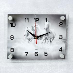 """Часы настенные, серия: Животный мир, """"Тройка лошадей"""", 20х26 см 2267875"""