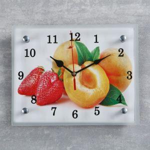 """Часы настенные, серия: Кухня, """"Абрикосы и клубника"""", 20х25  см, микс 1251830"""