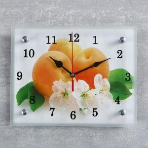 """Часы настенные, серия: Кухня, """"Абрикосы с цветами"""", 20х25  см, микс 1236449"""