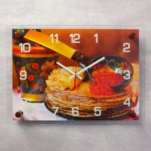 """Часы настенные, серия: Кухня, """"Блинчики с икрой"""" , 25х35  см, микс 2976069"""