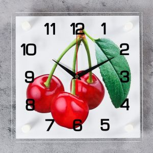"Часы настенные, серия: Кухня, ""Вишня"", 25х25 см, микс 1168985"