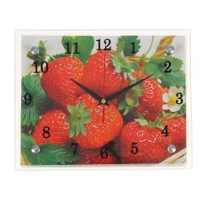 """Часы настенные, серия: Кухня, """"Клубника"""", 20х25  см, микс 1251842"""