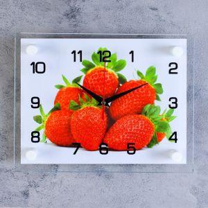 """Часы настенные, серия: Кухня, """"Клубника"""", стекло, 20х26  см, микс 1061701"""