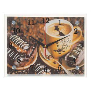"""Часы настенные, серия: Кухня, """"Кофе с пирожным"""", 20х25  см, микс 1236444"""